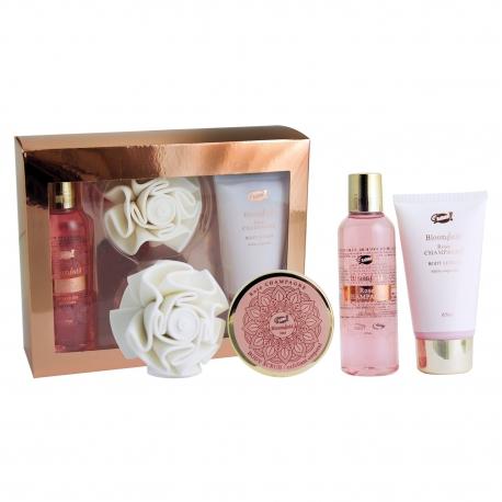 Coffret cadeau Bloomfield Rose Gold - série Rose Champagne pour femme - senteur rose - 4pcs