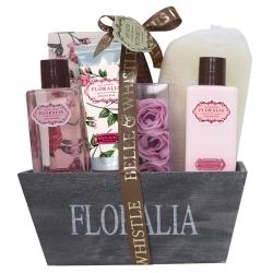 Corbeille de bain cadeau en Bois - Collection Floralia - senteur Rose - 8 pcs