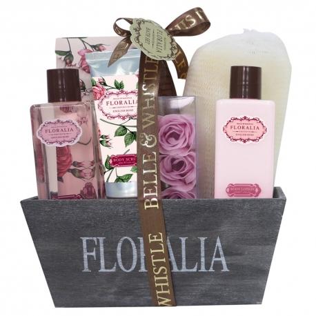 Corbeille de bain en Bois - Collection Floralia - Senteur Rose