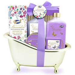 Coffret cadeau - Baignoire de bain dorée - Lys et Freesia