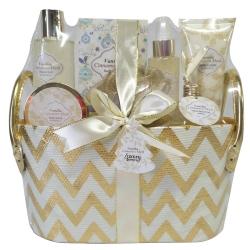 Gloss - Coffret de bain pour femme - Corbeille argentée incluant une brume corporelle - Fleurs de coton