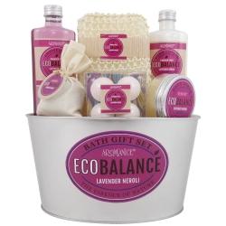 Gloss - Coffret Premium pour femme - Pot de bain en métal blanc - Collection Eco Balance - Vanille et Gingembre