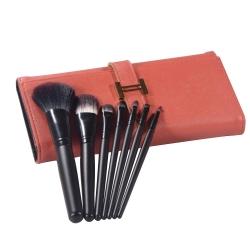Kit de 7 pinceaux de maquillage & son etui simili-cuir orange