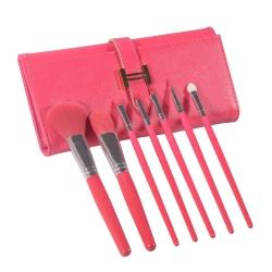 Kit de 7 pinceaux de maquillage & son etui simili-cuir rose