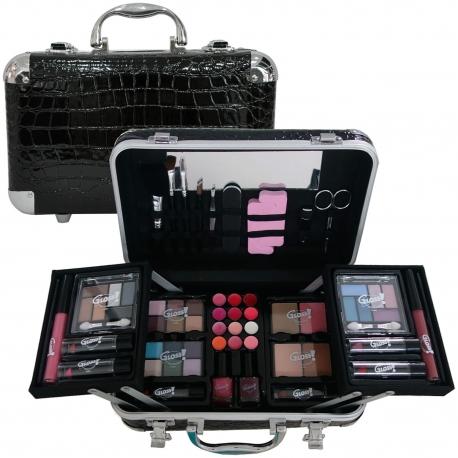 Gloss - Mallette de maquillage XXXL incluant 4 vernis - Design Croco - Idée cadeau Beauté