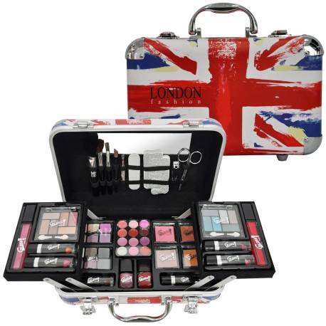 Mallette de maquillage XXXL avec 4 vernis - Design UK Flag Paint