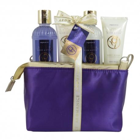 Trousse de bain violette et dorée à la Rose & Prune - Idée cadeau